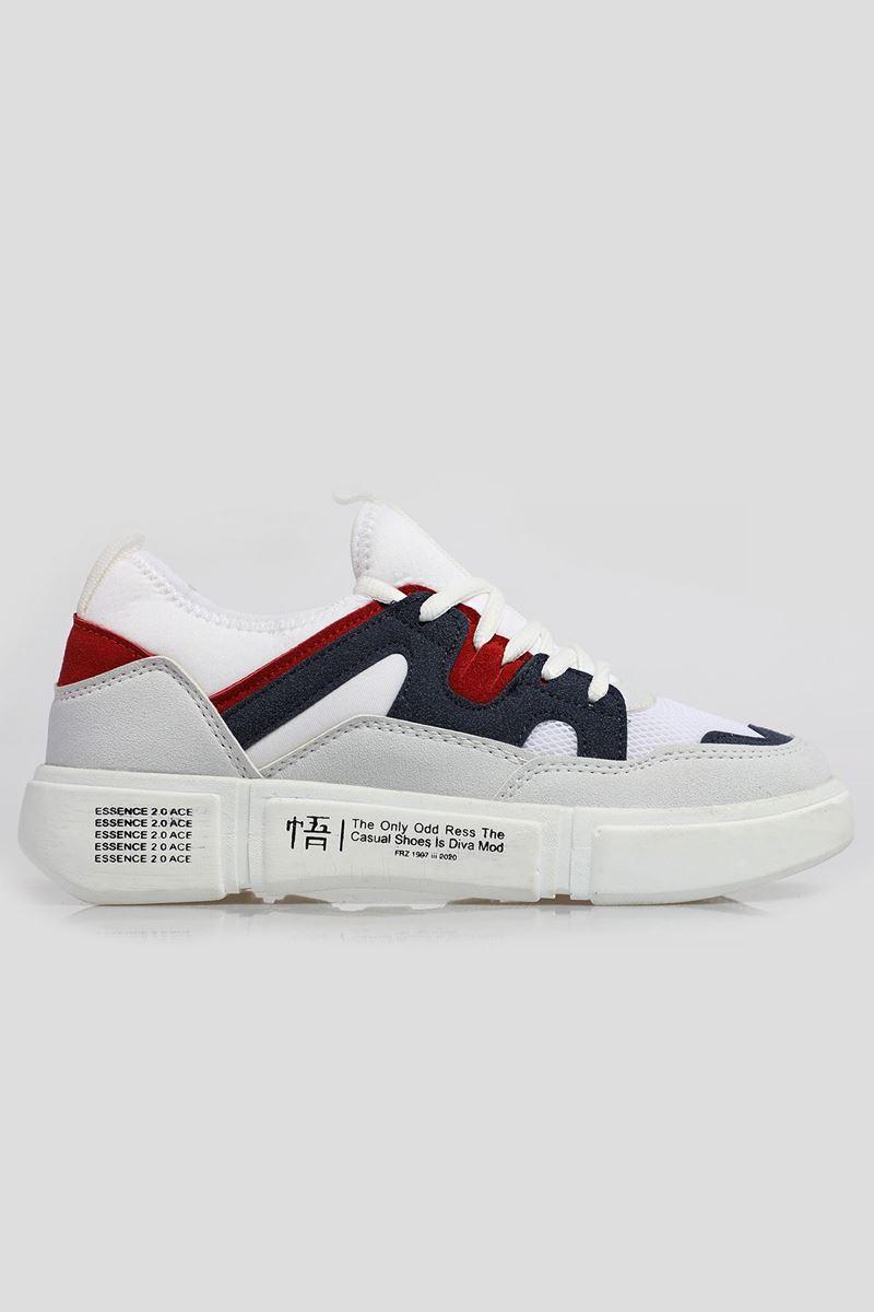 19805 Forza Beyaz Lacivert Beyaz Faylon Taban Erkek Spor Ayakkabı resmi