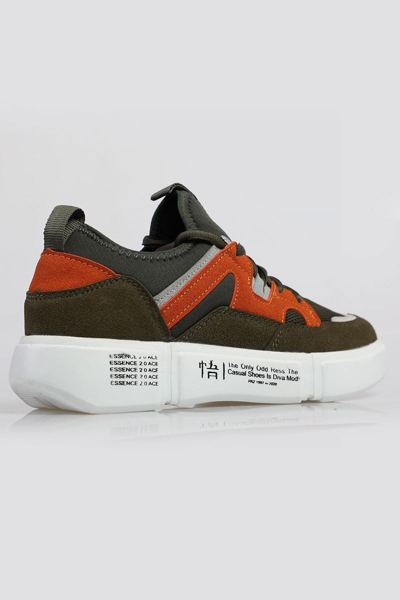 19805 Forza Haki Oranj Beyaz Faylon Taban Erkek Spor Ayakkabı resmi
