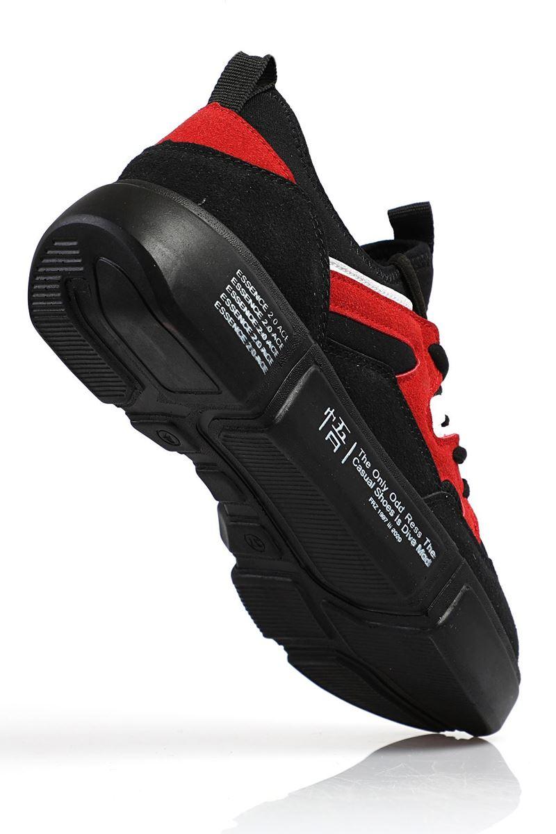 19805 Forza Siyah Kırmızı Siyah Faylon Taban Erkek Spor Ayakkabı resmi