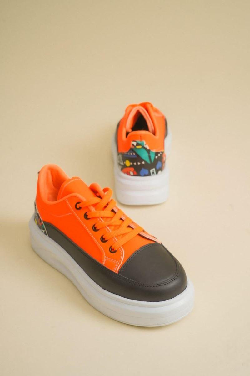 Pilla Turuncu Siyah Kadın Ayakkabı resmi