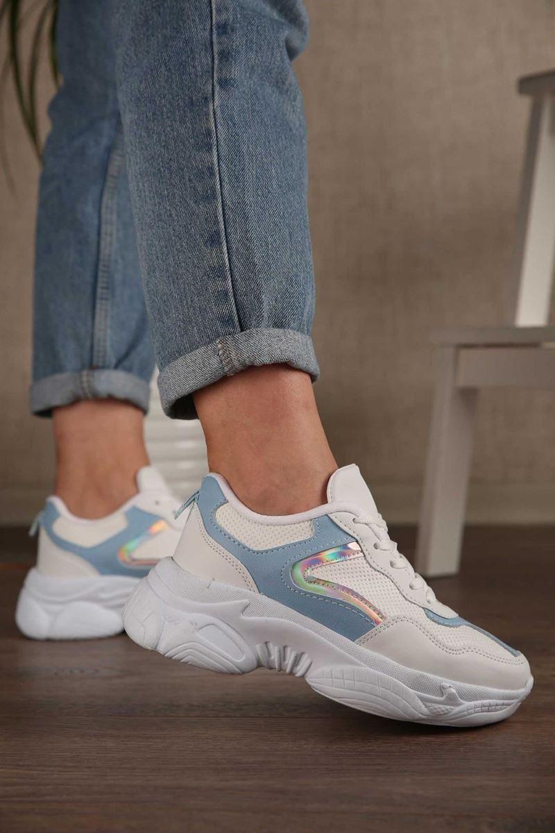 Pilla Beyaz Mavi Kadın Ayakkabı resmi