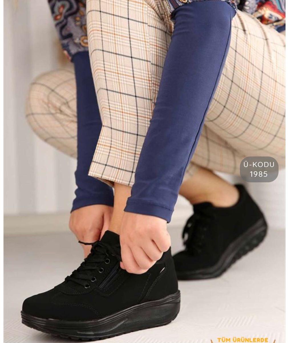 Pilla Siyah Fermuarlı Kadın Ayakkabı resmi
