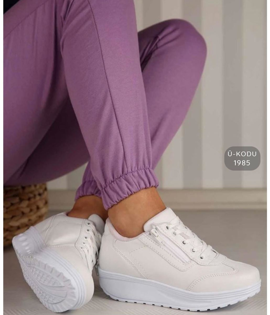 صورة Pilla Beyaz Fermuarlı Kadın Ayakkabı