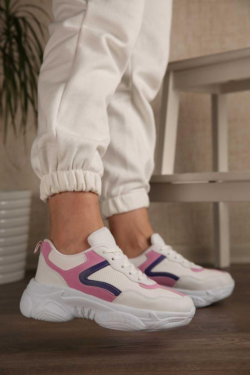 Pilla Beyaz Pembe Siyah Kadın Ayakkabı resmi